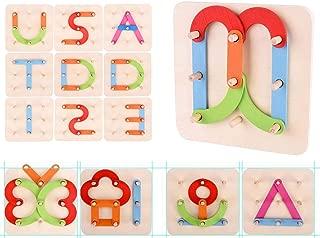 USATDD Wooden Letter Number Sorter Puzzle Educational Stacking Blocks Toy Set Shape Color Construction Pegboard Sorter Activity Board Sort Game for Kids Toddler Gift Preschool Learning STEM Toy