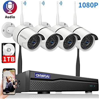 【8CH Expandable.Audio】 Security Camera System Wireless Outdoor, 8 Channel 1080P NVR with 1TB Hard Drive, 4Pcs 1080P CCTV Cameras for Home,OHWOAI Surveillance Video Security System,Outdoor IP Cameras