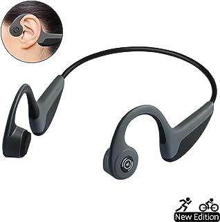 Bone Conduction Headphones Bluetooth 5.0 Wireless Earbuds Open-Ear Waterproof Sports Headsets w/Mic for Jogging Running Driving Cycling, Lightweight-1.2 oz (Grey)