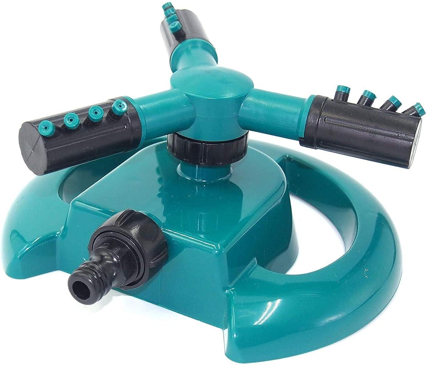 塊野心的確立ABS素材ガーデンスプリンクラー、3ノズル芝生スプリンクラー、360°自動回転水スプリンクラーシステムアジャスタブルガーデニング用品 6.24