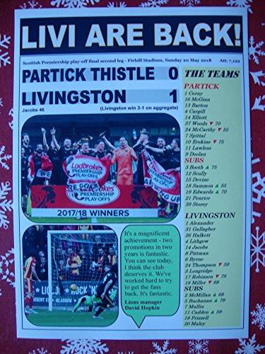 Sports Prints UK Partick Thistle 0 Livingston 1-2018 - Livingston promoted - souvenir print