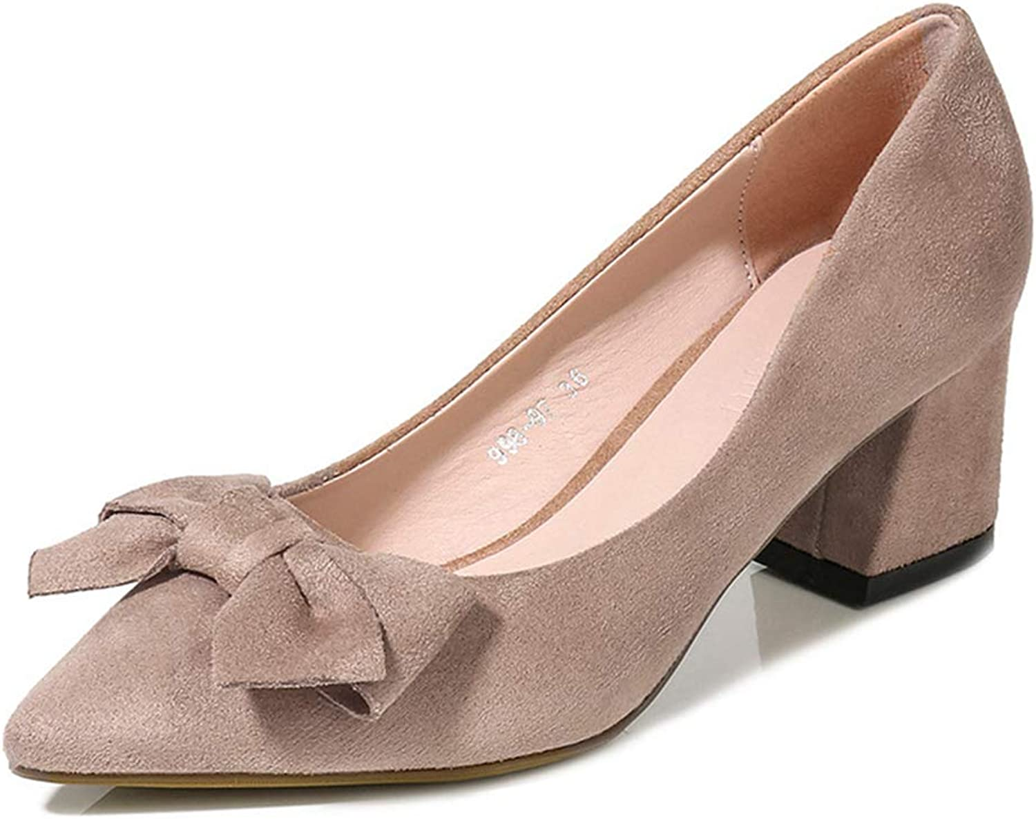 Sam Carle Womens Pumps,Chunky Heel Classic Sweet Butterfly-Knot Shallow Mouth shoes