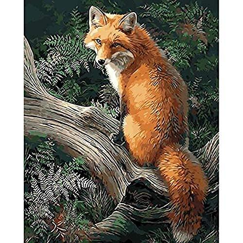 Pintura al óleo digital lienzos para pintar manualidades adultos Decoración Fox-Home Marrón 40x50cm Sin Marco