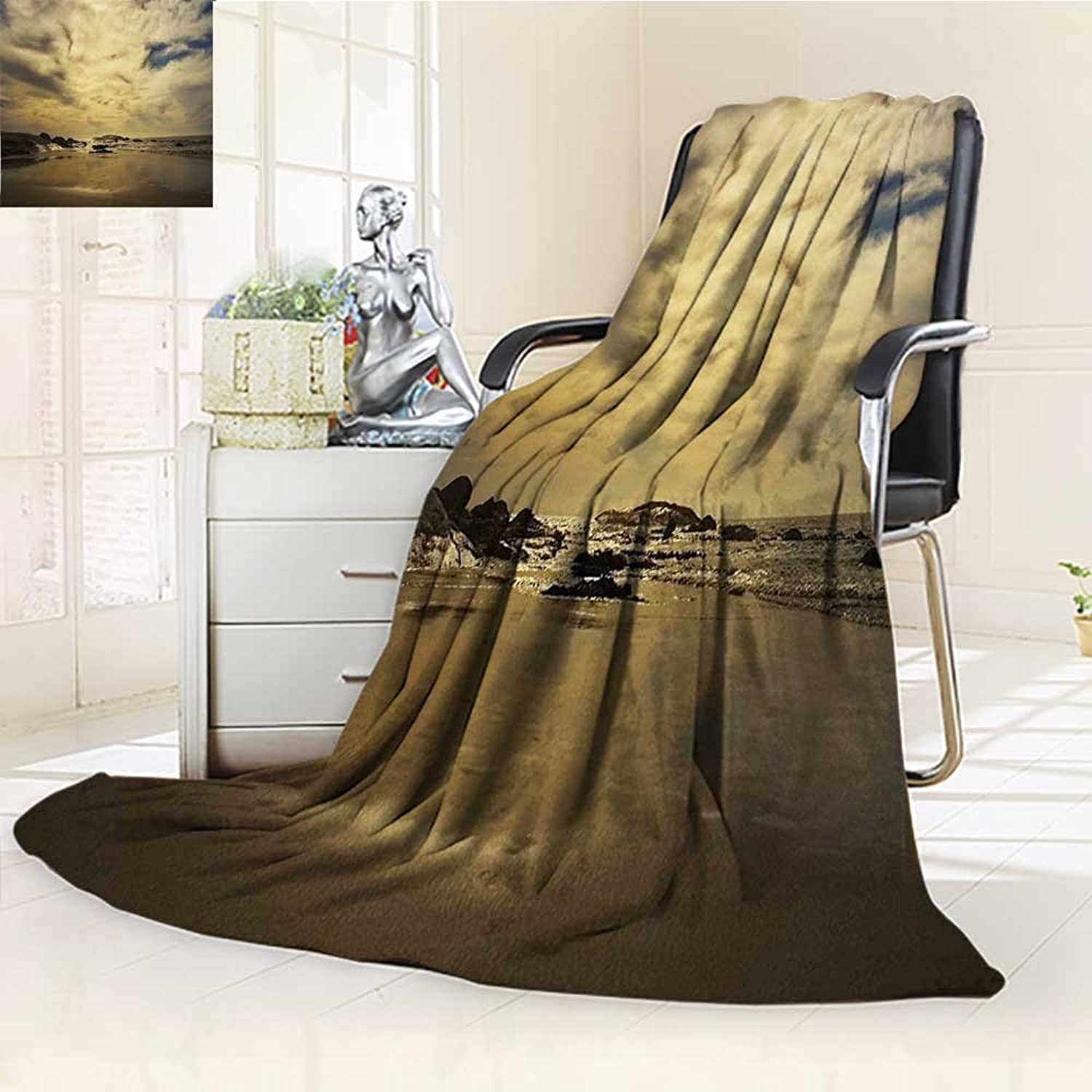 YOYI-HOME Digital Printing Duplex Printed Blanket Nature Long Exposure Ocean Sunset Rocky Coast with Waves Cloudy Sky Autumn View Sepia Summer Quilt Comforter  W59 x H39.5
