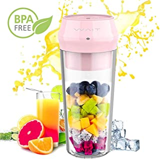 Portable Personal Blender, Portable Personal Smoothie Fruit Juicer Cup with Hidden 304 Stainless Steel Blade with Lock Indicator and Juicer Mixer with USB Type-C Fast Charging for Gym, Office, Travel