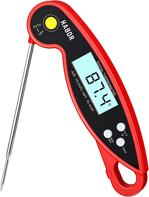 Habor 192 Meat Thermometer Upgraded Waterproof 3s Instant Read Digital Cooking Thermometer Kitchen Food Thermometer With Backlight Ambidextrous Display For Candy Turkey BBQ Milk Water Temperature