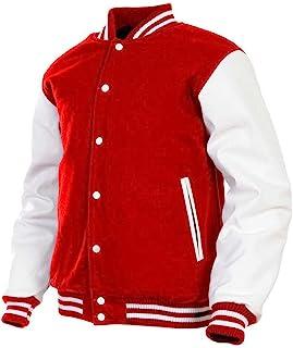 Mens Varsity Jacket Genuine Leather Sleeve and Wool Blend Letterman Boys College Varsity Jackets XXS-