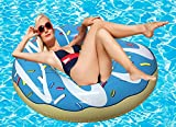 RiffSpheres Gigantic Donut Pool Float Toy - (Blue Giant Inflatable Donut Pool Floats Tube Rafts With Frosting) Great Idea