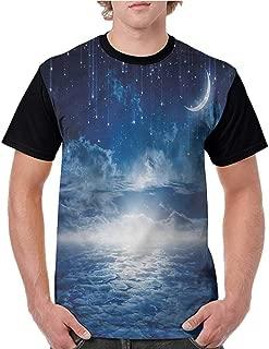Men T Shirt,Night Sky,Full Moon with a Lake S-XXL Man Baseball Tops