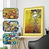 Pintura de Diamantes Gustav Klimt Adele 40x50 cm – DIY Diamond Painting 5D kit completo con diamantes de cristal de forma especial – Diamond Art Pintura para cristal taladro parcial – Sin marco