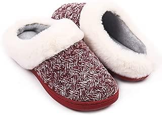 Women's Comfort Memory Foam Slippers Warm Plush Fleece Lining Slip On House Shoes