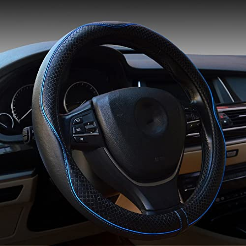 Valleycomfy Universal 15 inch Auto Car Steering Wheel Cover with Black Genuine Leather add Blue Lines for Escape Fusi...