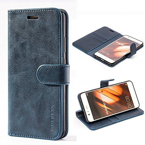 Mulbess Handyhülle für Huawei P10 Plus Hülle Leder, Huawei P10 Plus Handytasche, Vintage Flip Schutzhülle für Huawei P10 Plus Hülle, Navy Blau