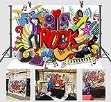 FUERMOR Background 7x5ft Rock Music Graffiti Photography Backdrop Props Studio Photo Video Decoration NANFU338
