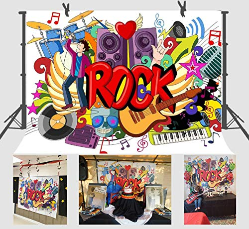 FUERMOR Background 7x5ft Rock Music Graffiti Photography Backdrop Props Studio Photo Video Decoration NANFU338