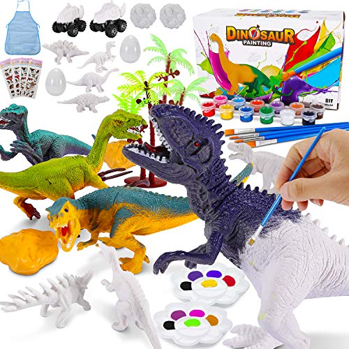 Magicfun Dinosaur Painting Toys, 3D Paint Your Own Unique Dinosaur DIY Kit, 36Pcs Non-Toxic Kids Arts and Crafts Set, Birthday Christmas Dino Gifts for Boys Girls Age 3 4 5 6 7 8 Party Favors