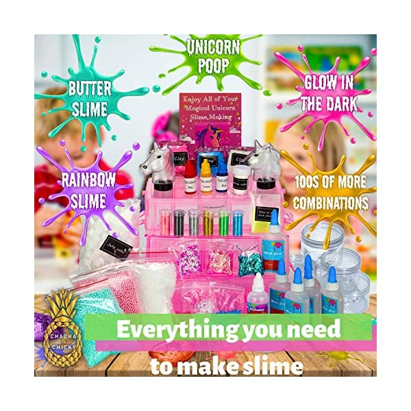 Chacha & Chicky Unicorn Slime Science Kit for Girls- Huge DIY Educational Activities Learning Set- Non Toxic, Comes for Kids to Make Slime Experiments + Glow in The Dark , Primary Colours, Ra 7
