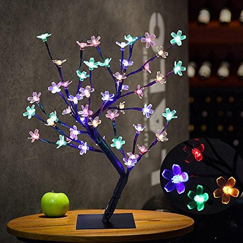AUA Lámpara de Mesa de la Flor de Cerezo de la luz del árbol de los bonsais, 0.45M / 1.5FT 48LED Flexible ramifica la luz del árbol para el hogar/Festival/Decoraciones de la Navidad (Multicolor)