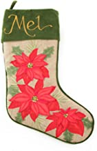 The Christmas Cart Personalised Gifts & Keepsakes Personalised Burlap Poinsettia Christmas Stocking | Traditional Christma...