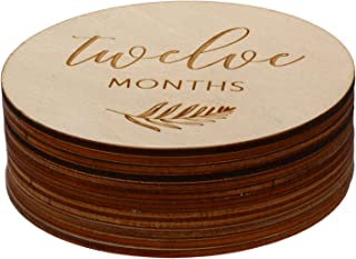 TOYANDONA 12Pcs Wooden Milestone Photo Cards Newborn Milestone Discs Baby Monthly Gift Sets Baby Monthly Photo Props for B...