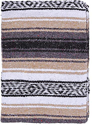 El Paso Designs Mexican Yoga Blanket Colorful 51in x 74in Studio Mexican Falsa Blanket Ideal for Yoga, Camping, Picnic, Beach Blanket, Bedding, Home Decor Soft Woven (Beige)