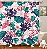 Bernice Winifred Tropical Palm Leaves Shower Curtain Set,Decorative Fabric Bath Curtain Modern Bathroom Accessories,Machine Washable-Pink- 66x72in