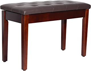 HOMCOM Traditional Country Birchwood Faux Leather Padded 2 Person Piano Bench - Chestnut Brown