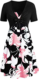 Zottom Damen FrauenCasual 50er Jahre Retro Sleeveless V-Ausschnitt Dot Printing Party Prom Swing Dress