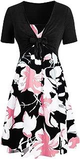 ❤️Sumeimiya Women's Bandage Dress, Women Sunflower Print Mini Dress Short Sleeve Bow Knot Top Suits Sundress Casual Dress