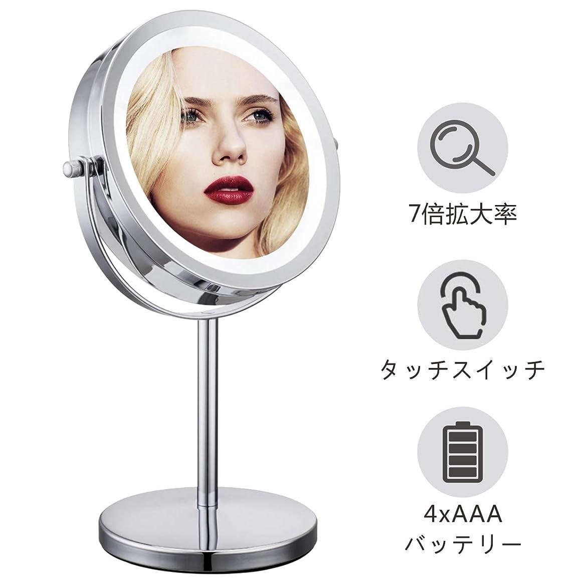 涙ポテトゼロMinracler 化粧鏡 7倍拡大鏡 卓上 化粧ミラー led両面鏡 明るさ調節可能 女優ミラー 360度回転 (鏡面155mmΦ) 電池給電