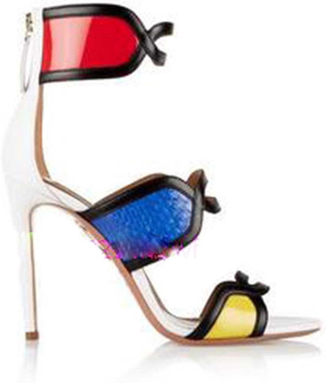 Bota Feminina New Gorgeous 10CM 10CM Snakeskin Leather High Heels Sandale Femme Mixed Farbe Sandals damen Open Toe Summer Stiefel as Showed Farbe 9  exklusiv