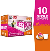 LonoLife Thai Curry Beef Bone Broth Powder with 10g Protein, Paleo and Keto Friendly, Single Serve Cups, 10 Count