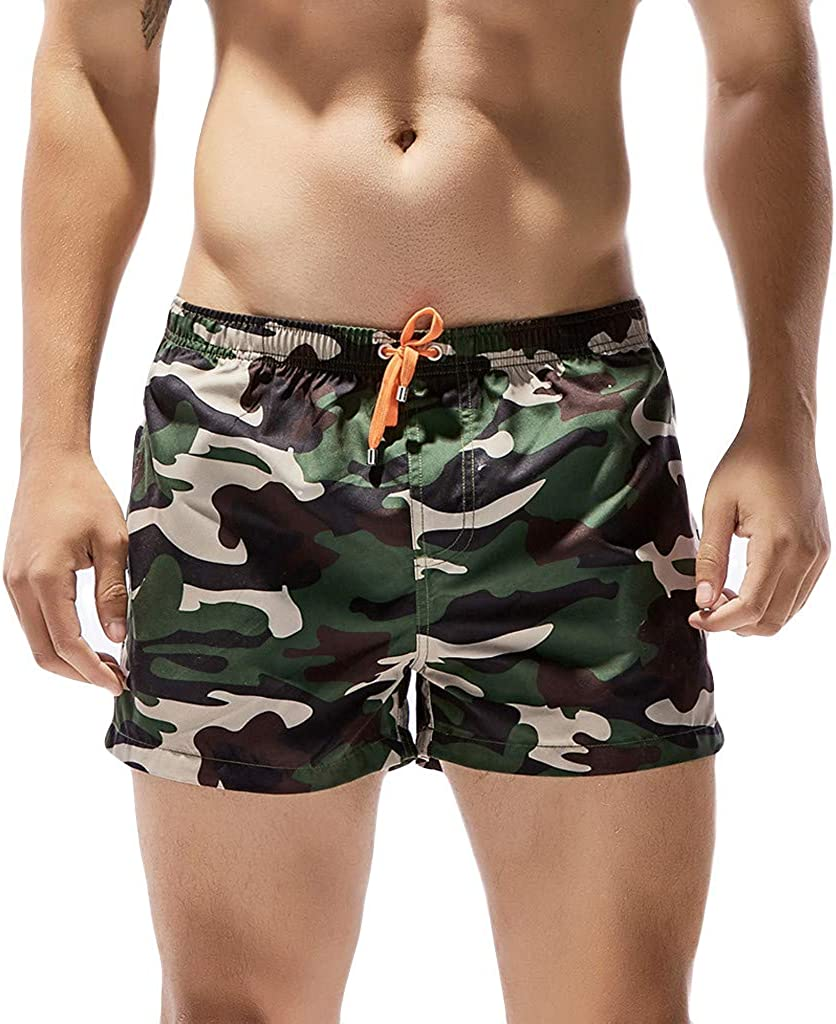 MODOQO Men's Short Trunks Quick Dry Camo Print for Surfing Running Beachwear