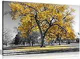 Lienzo de naturaleza en blanco y negro para pared con gran árbol con hojas amarillas, impresión artística, negro, blanco y amarillo, A0 91x61cm (36x24in)