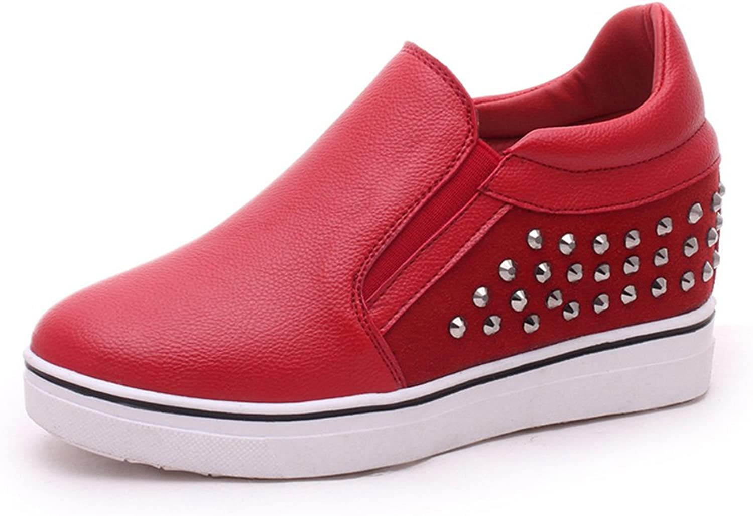 Huhuj Spring Rivets Thick Soled shoes Increased with Round Head Low Casual shoes