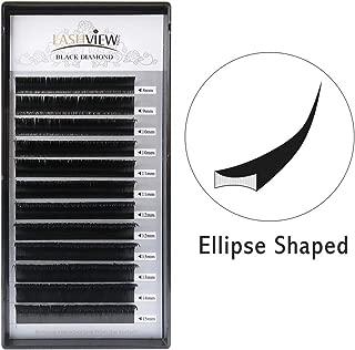 LASHVIEW Ellipse Eyelash Extensions 0.15mm C Curl 8-15mm Mix Flat Eyelash Extension Light Lashes Individual Eyelashes Salon Use Black Mink False Lashes Mink lashes Extensions