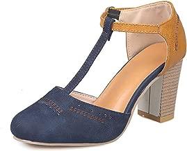 Athlefit Women's Cut Out Ankle Boots Breathable Vintage Oxford Block Heel Pumps