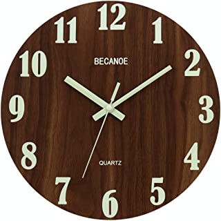 BECANOE 天然木 掛け時計 夜光 連続秒針 壁掛け時計 ウォールクロック 時計 サイレント ブラウン 静音