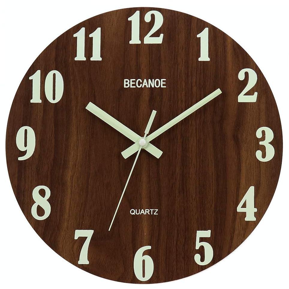 独裁舌スクレーパーBECANOE 天然木 掛け時計 夜光 連続秒針 壁掛け時計 ウォールクロック 時計 サイレント ブラウン 静音