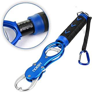 NOEBY Fishing Lip Grip with Scale Portable Fish Lip Grabber Fish Holder Aluminium Alloy Fishing Tackle Gripper Accurate Weight Scale