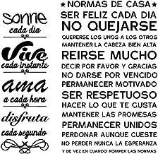 """VINFUTUR Spaanse positieve zinnen muurstickers """"Normas de Casa + Sonrie"""" Vinyl muur motiverende citaten Stickers inspirere..."""