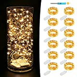 fairy jar lights - MUMUXI 12 Pack Fairy Lights Battery Operated (Included) 7.2Ft 20 LED Mini Waterproof Fairy String Lights Copper Wire Firefly Starry Lights for Wedding Party Mason Jars Christmas Decoration, Warm White