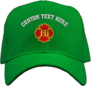 Custom Text Embroidered Fd Fire Department Unisex Adult Hook & Loop Acrylic Adjustable Structured Baseball Hat Cap - Kelly Green, One Size