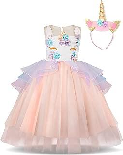 NNJXD Mädchen Einhorn Blume Rüschen Cosplay Party Hochzeit Prinzessin Kleid