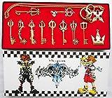 Mesky 12PZ Scatola da Collezione Kingdom Hearts Lega di Zinco Keyblade Sword Weapon Set Kit Accessorio Cosplay Travestimento Armi Chiave Catena Oro Rame Ciondolo Unisex
