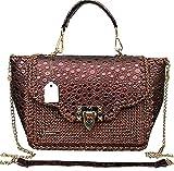 Damen klassische Lack Leder Handtasche Kleine braune Umhängetasche mit Prägung Vegan Leder Tasche...