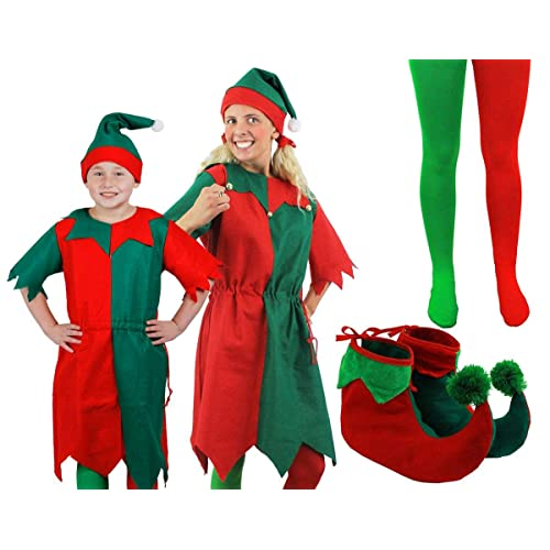 9981f2f040 ELF CHRISTMAS FANCY DRESS COSTUME GREEN RED LONG DRESS + HAT + TIGHTS + ELF  SHOES