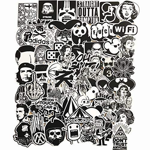 60-Pcs PVC Decals Black White Vinyl Computer Stickers for Cars Motorbikes Skateboard Laptops
