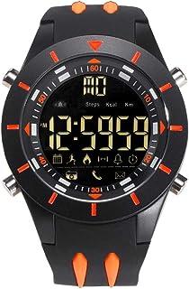 Men's Sports Analog Quartz Watch,Dual Display Waterproof Digital Watches with LED Backlight- Black orange