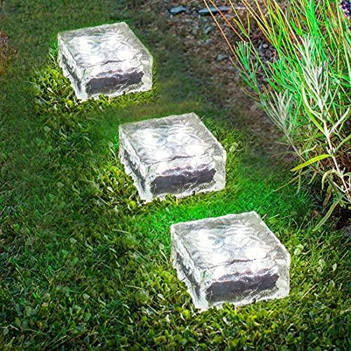 LMAMZ 10 Piezas Ladrillo de Cristal con Luz, Focos Empotrables Exterior Solares...